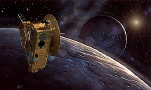 Visions of space … New Horizons arrives at Pluto by David A Hardy. Hardy says: 'I painted the planet in 1991; the NH probe was added in 2015'