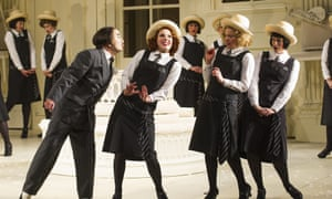 Richard Suart (Ko-Ko), Mary Bevan (Yum-Yum), Fiona Canfield (Peep-Bo) and Rachael Lloyd (Pitti-Sing) in The Mikado.