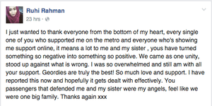 Ruhi Rahman's facebook post thanking fellow passengers.