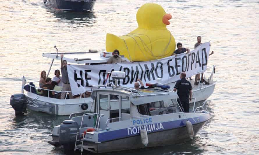 The Belgrade protesters are organised and relentless: they use a clear symbol, and favour PR stunts rather than just protests.