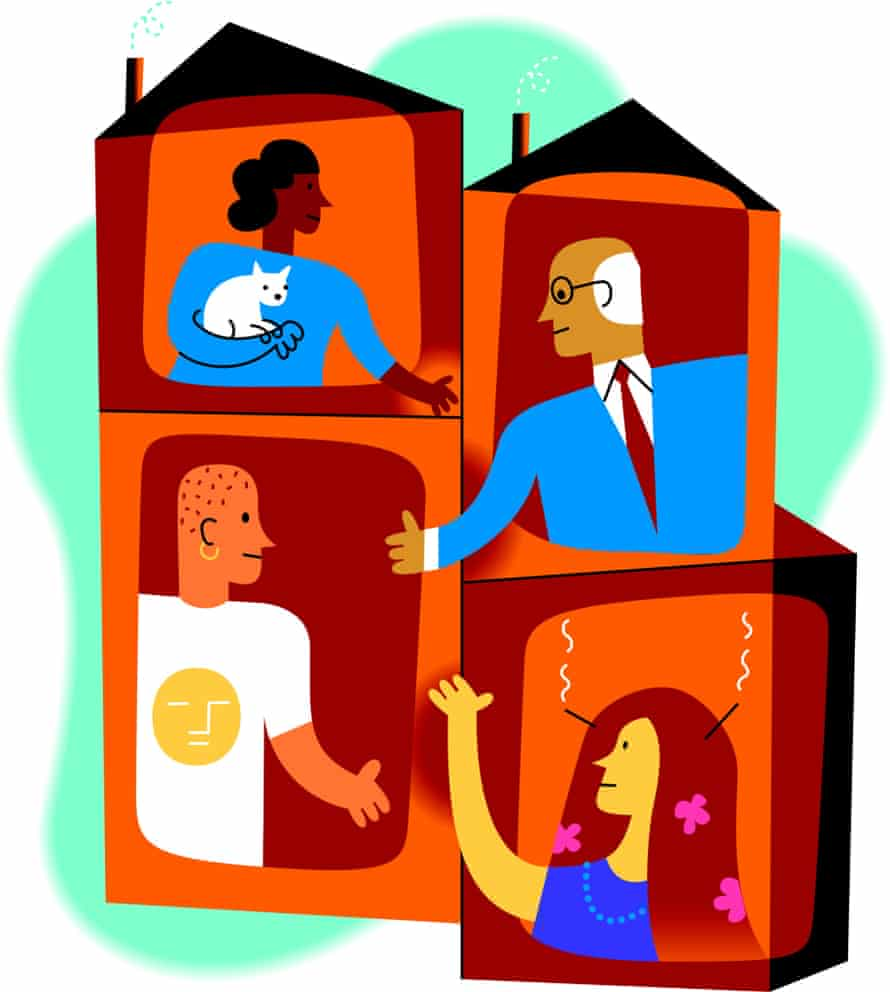 Community graphic of people in houses reaching out hands