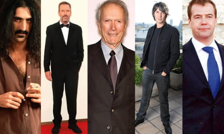 Hearing is believing: hi-fi buffs include, from left, Frank Zappa; Hugh Laurie; Clint Eastwood; Brian Cox; and Dmitry Medvedev.