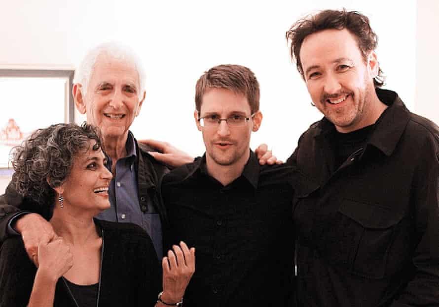 Arundhati Roy with Daniel Ellsberg, Edward Snowden and John Cusack