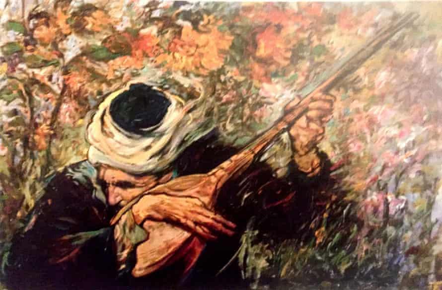 Musician, 1999, Oil on canvas, by Habibollah Sadeghi