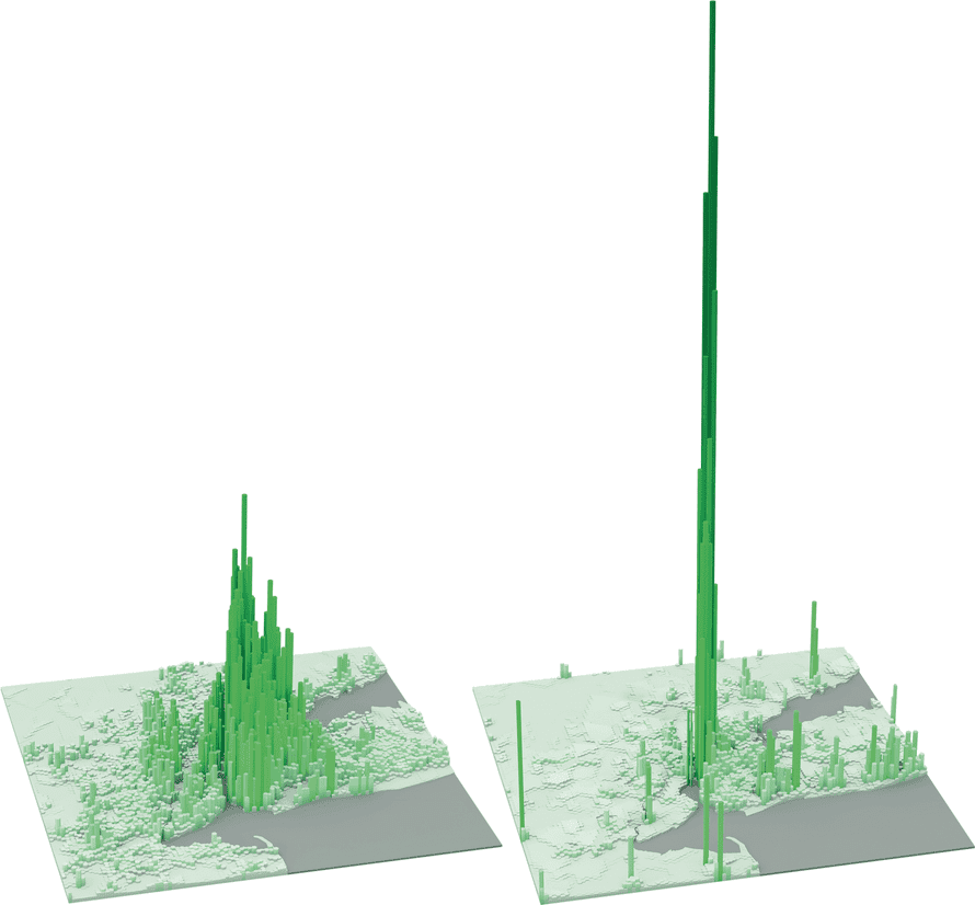 New York's employment peak of over 150,000 jobs per km2 is found in Midtown Manhattan above West 42nd Street, close to Times Square. Outside Manhattan, employment activities are relatively low.