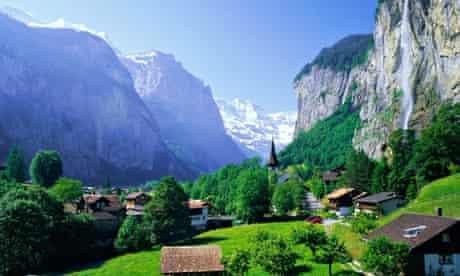 Lauterbrunnen Staubbach Falls Jungfrau Swiss Alps
