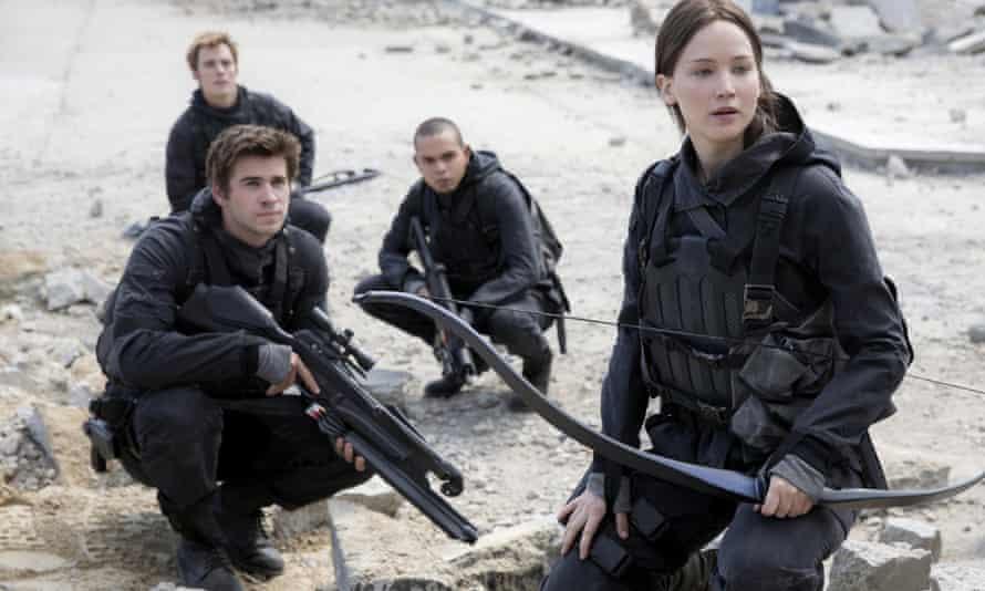 Jennifer Lawrence as Katniss Everdeen, seeking revenge in The Hunger Games: Mockingjay, part two.