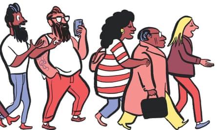 Illustration of lots of people talking