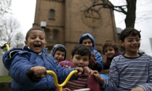 Migrant children from Syria in front of a Protestant church in Oberhausen, Germany