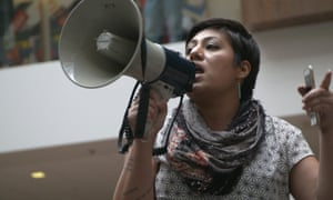 Maria Zamudio, Housing Rights Campaign Organizer at housing organization Causa Justa::Just Cause addresses the crowd