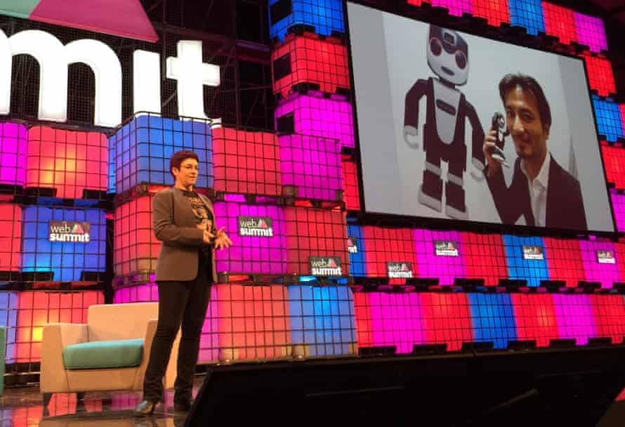 Andra Keay on stage at the Web Summit conference.