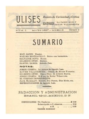 Ulises no.1 (página de contenidos), mayo de 1927.