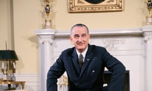 President Lyndon B. Johnson in the Oval Sitting Room of the family quarters of the White House in Washington, DC.