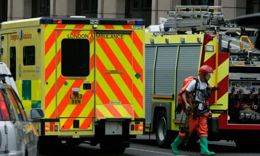 London Ambulance and fire engine outside Aldgate East tube station.
