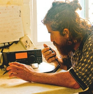 lost fisherman Salvador Avarenga making radio contact after landing on Ebon Atoll