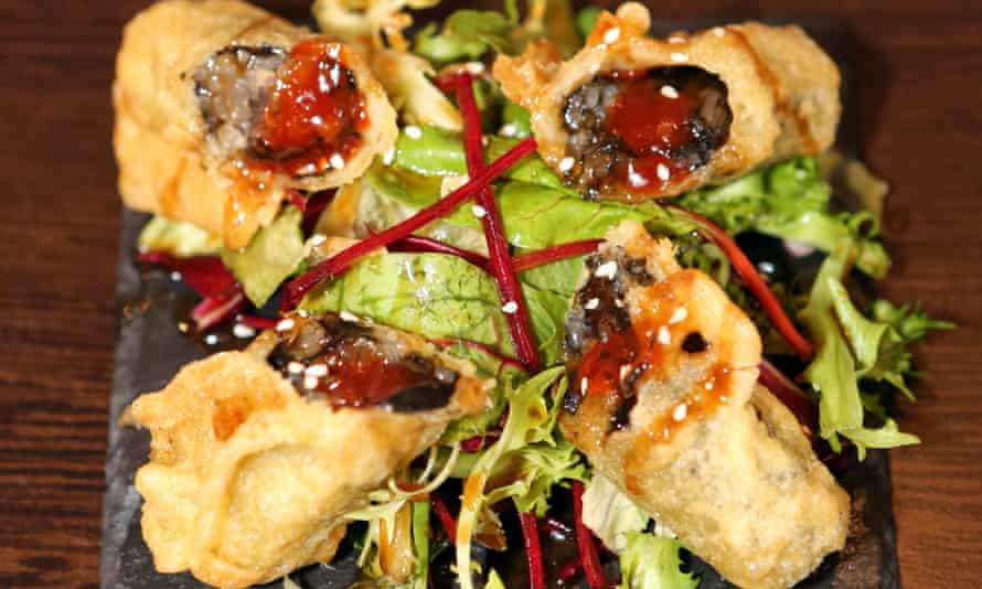 'Deep-fried rolls of seaweed filled with the satisfying crunch of glass noodles': tuimary spring rolls.
