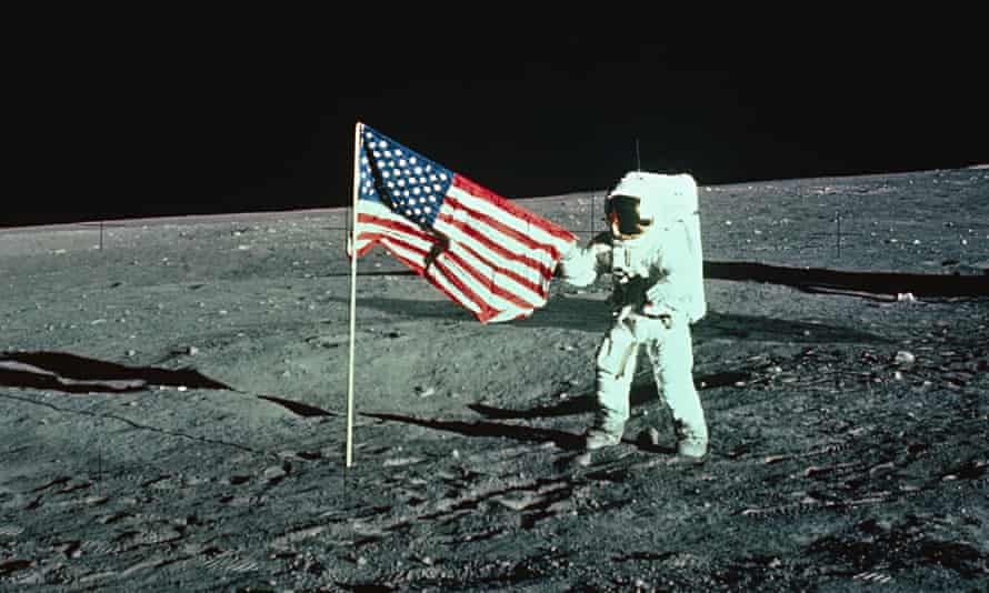 Astronaut Unfurling a United States Flag on the Moon