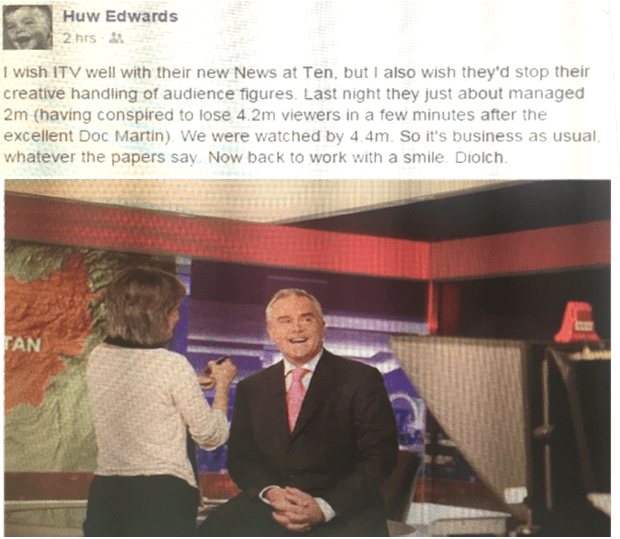 Huw Edwards' Facebook post about ITV's News at Ten