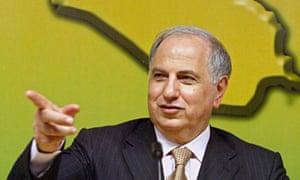 Ahmed Chalabi speaking in Baghdad in 2004.