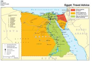 British Egypt travel advice map