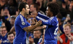 Cesc Fàbregas and Willian celebrate