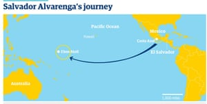 map of missing fisherman Salvador Alvarenga's  journey