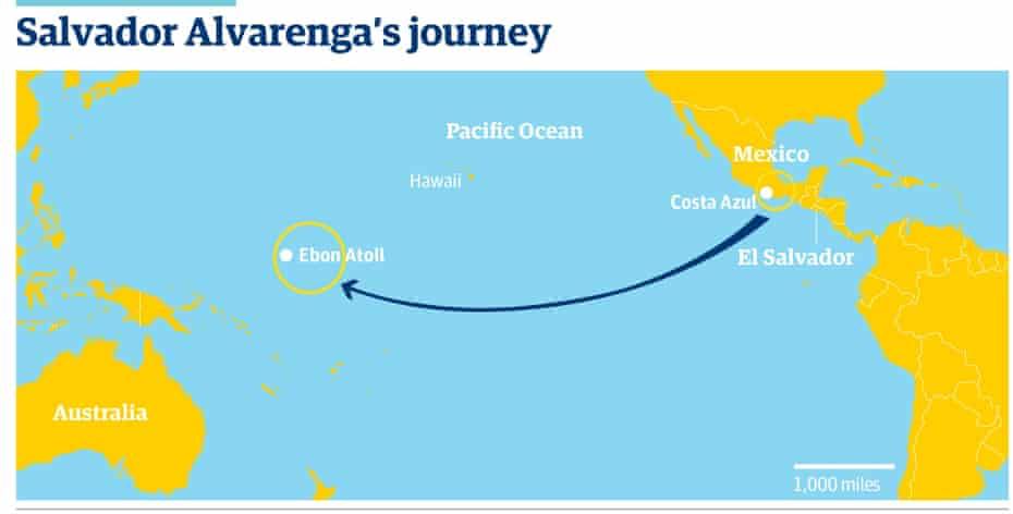 map of missing fisherman Salvador Alvarenga's  journey