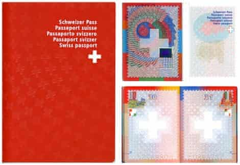 Swiss passport … embossed crosses and psychedelic security patterns.
