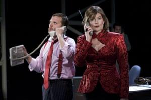 Lex Shrapnel and Sara Stewart in Serious Money at Birmingham Repertory Theatre