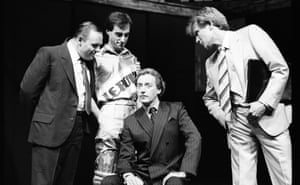 From left, Anthony Hopkins, Christopher Baines, Peter Blythe and Bill Nighy in Pravda: A Fleet Street Comedy at the Olivier Theatre.