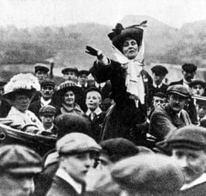 Emmeline Pankhurst making an open-air speech.