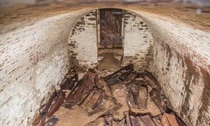 The second, previously unknown burial vault contains about 20 wooden coffins.
