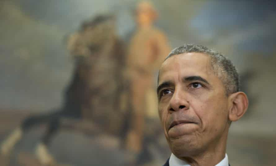 President Barack Obama delivers a statement on the Keystone XL pipeline on Friday, in front of a painting of Theodore Roosevelt in the Roosevelt Room of the White House.
