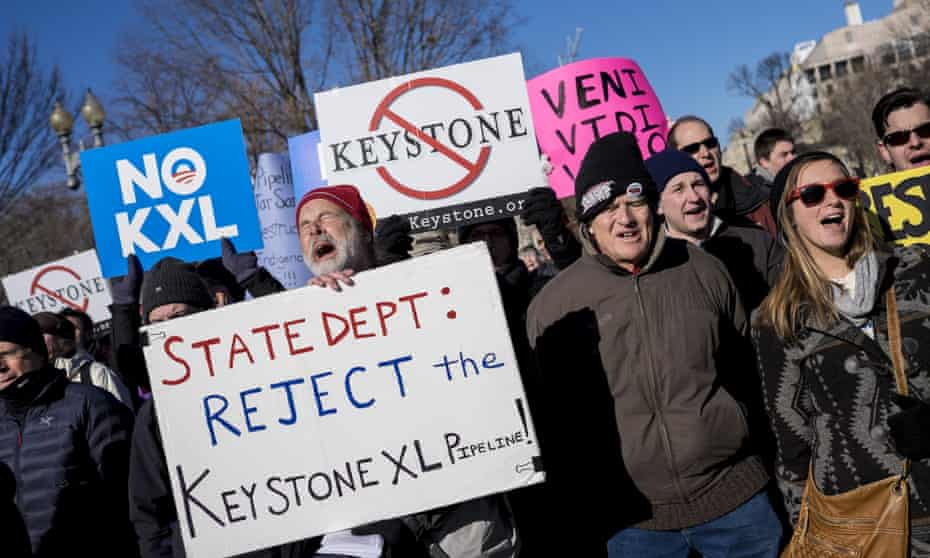 Demonstrators hold a rally against the Keystone XL pipeline outside of the White House in Washington, D.C., U.S., on Saturday, Jan. 10, 2015.