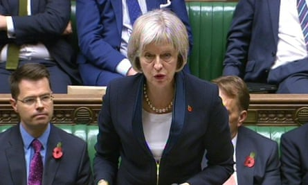 Home Secretary Theresa May speaks in the House of Commons at the launch of the IP bill.