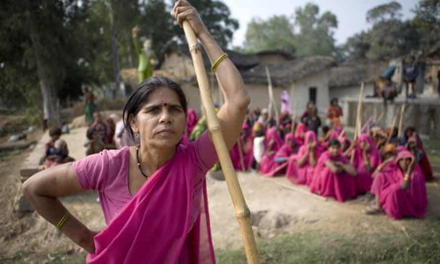 The Gulabi Gang, or pink saris, are a grassroots civil society group campaigning for women's rights in India.