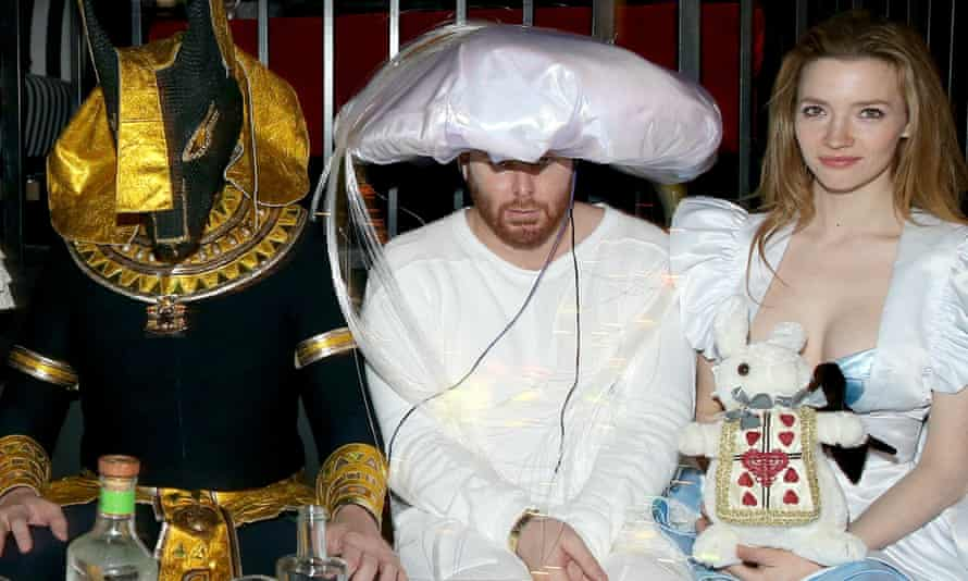 Entrepreneur Sean Parker, seen here at the Playboy Mansion Halloween party on 24 October, between Tesla CEO Elon Musk and actress Talulah Riley