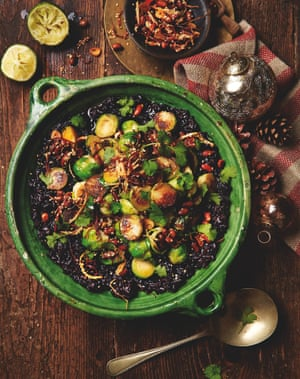 Photograph of Yotam Ottolenghi's black miso sticky rice with peanuts and brussels sprouts
