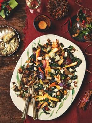 Yotam Ottolenghi's roast parsnips and jerusalem artichokes with cavolo nero andstilton