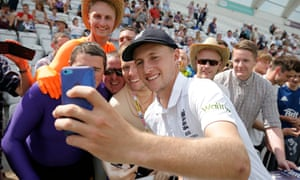 England's Joe Root with fans