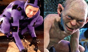 Before the magic: (from left) Andy Serkis wearing a special high-tech suit; and as Gollum after the performance capture had been added.