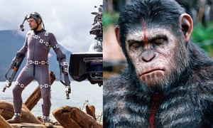 Caught in the act: (from left) Andy Serkis monkeying around; and in Dawn of the Planet of the Apes.