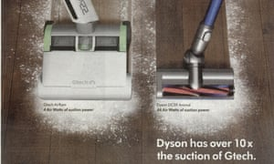 Dyson's advert showing its vacuum cleaner and GTech's side by side