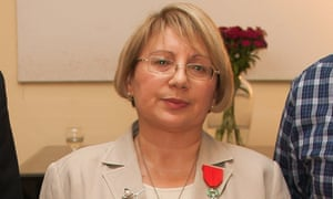Azerbaijani human  rights defender Leyla Yunus after being awarded the Knight of the French Order of the Legion of Honor in 2013.