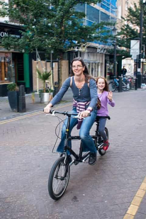 Clare and daughter Ffion test-riding their tandem