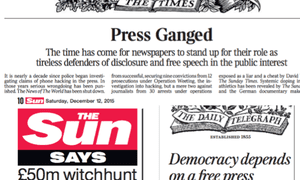 Leading articles in the Times, Sun and Daily Telegraph.