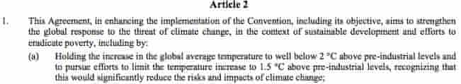 The 1.5C passage from the Paris agreement.