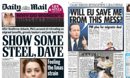 Messages to the prime minister from the Daily Mail and the Sun.