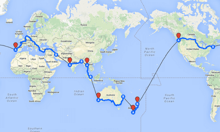 The route taken by Nicholson on his 123 day trip