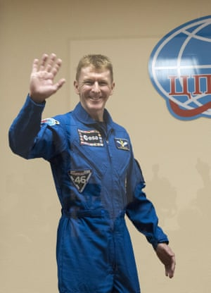 Tim Peake at the pre-launch press conference in Kazakhstan.